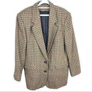 Vtg Houndstooth Brown Tan 2-Button Career Blazer
